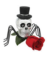 Set of 3: Gothic Silver Skull Spider in Top Hat Metal Legs Halloween Dec... - $59.35
