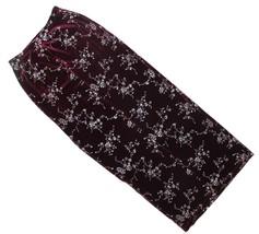 VTG Womens Burgundy Velvet Silver Floral Bodycon Side Slit Column Skirt ... - $31.92