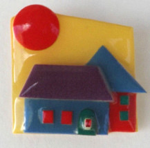 House Pins by Lucinda Brooch Handmade Red Sun Yellow Sky 2 Houses - $8.88