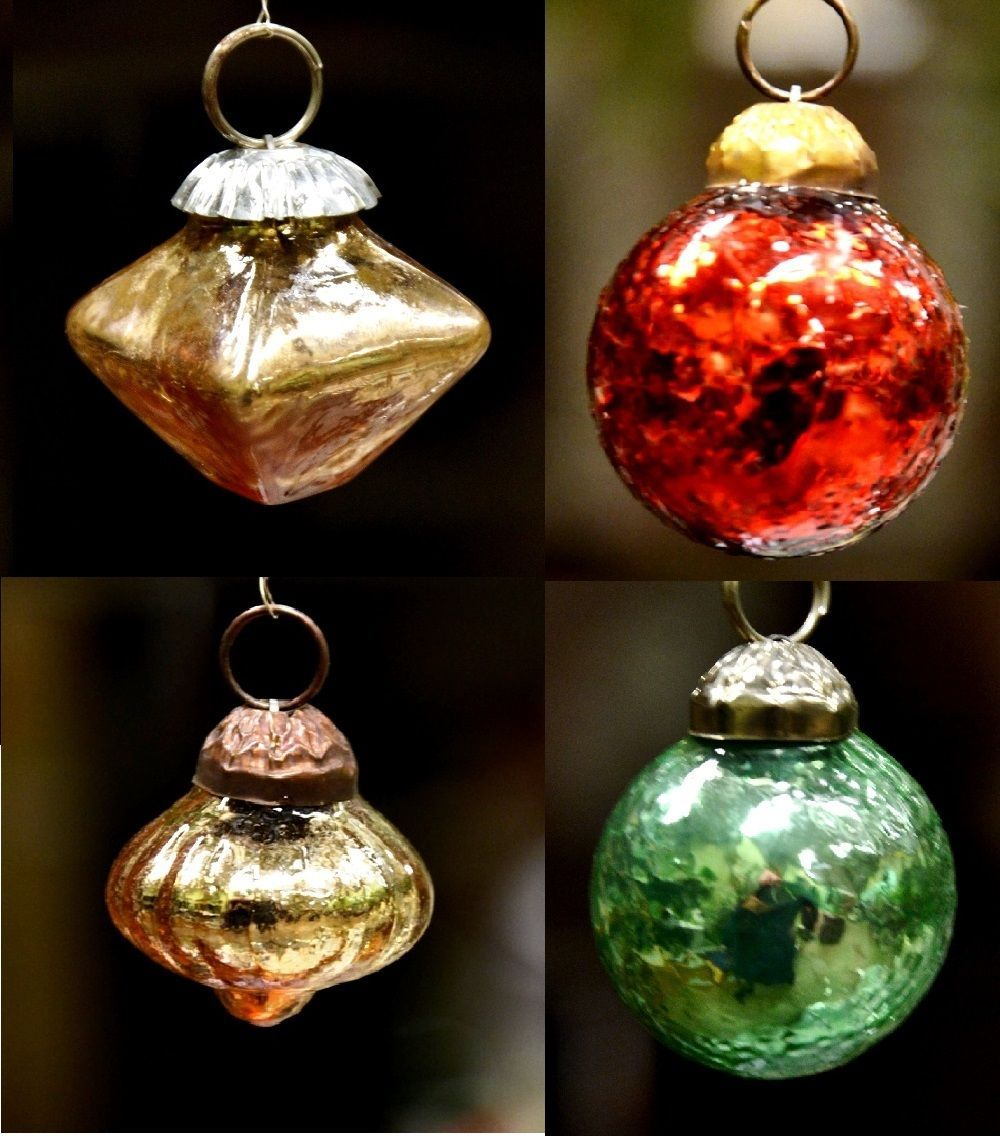 Mini glass ball bauble christmas tree ornament from india