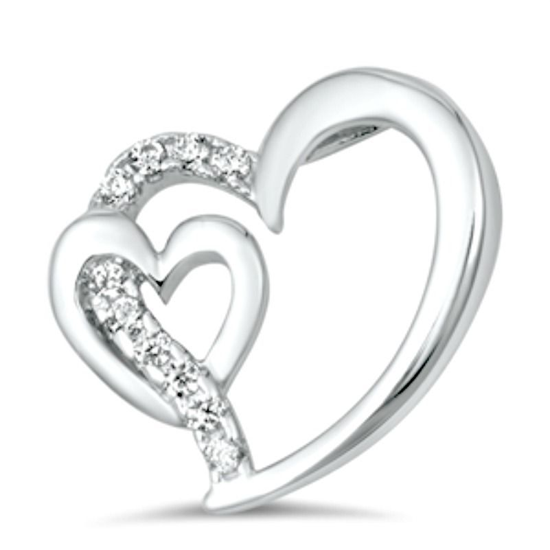 Sterling Silver CZ Heart pendant Love Hearts Gift Kids Ladies Double New d19 - $9.72