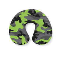Dark Camouflage Lime Green Travel Neck Pillow - $24.65 CAD