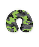 Dark Camouflage Lime Green Travel Neck Pillow - £14.87 GBP