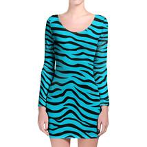 Zebra Print Bright Blue Longsleeve Bodycon Dress - $36.99+
