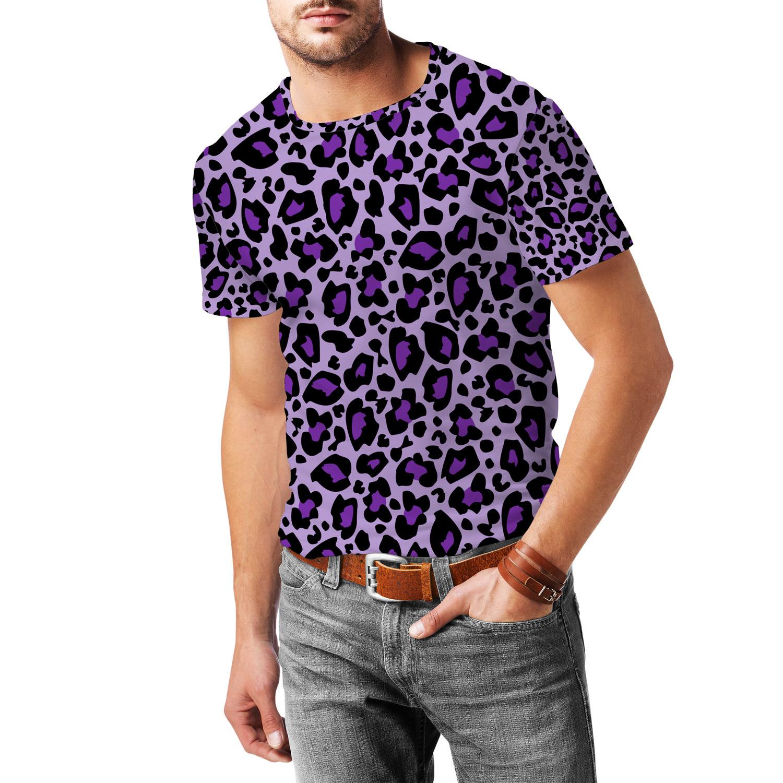 Leopard Print Bright Purple Mens Cotton Blend T-Shirt for sale  USA