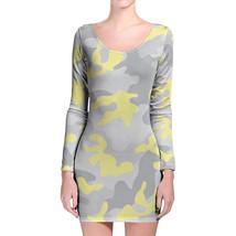 Camouflage Pastel Yellow Longsleeve Bodycon Dress - $36.99+