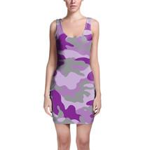 Camouflage Bright Purple Bodycon Dress - $30.99+