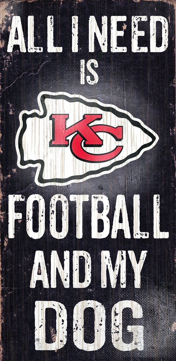 "KANSAS CITY CHIEFS FOOTBALL & my DOG WOOD SIGN and ROPE 12"" X 6""  NFL MAN CAVE!"