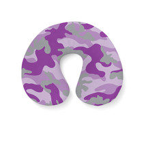 Camouflage Bright Purple Travel Neck Pillow - $25.22 CAD