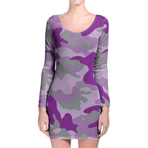 Camouflage Bright Purple Longsleeve Bodycon Dress - $747,75 MXN+