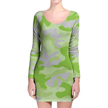 Camouflage Bright Green Longsleeve Bodycon Dress - $36.99+