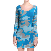 Camouflage Bright Blue Longsleeve Bodycon Dress - $36.99+