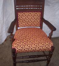 Carved Walnut Eastlake Armchair/Chair-gold/burgundy  (AC71) - $359.10