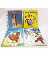Vintage a little golden book lot of 4 the little red hen lassie mary pop... - $14.84
