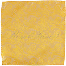 Paisley Handkerchief Only Pocket Square Hanky BRIGHT GOLD Wedding Party - $4.78