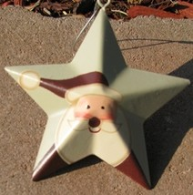 Metal Christmas Ornament OR206 - santa metal star  - $1.95