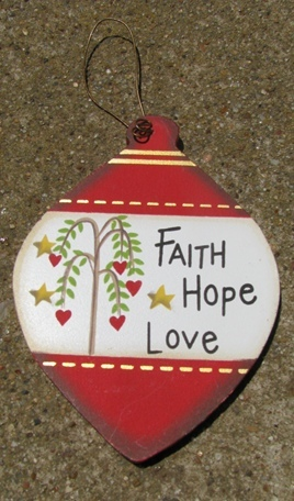 wd852 - Faith Hope Love Wood Ball Ornament
