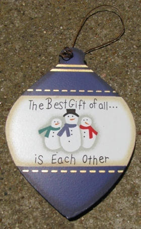 Wood Ball Christmas Ornament wd853 - The best Gift is Each Other