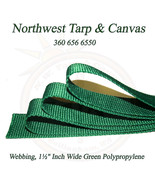 "Webbing, 1½"" Inch Wide Green Polypropylene Sold By-The-Yard 36"" Uncut Le... - $1.19"