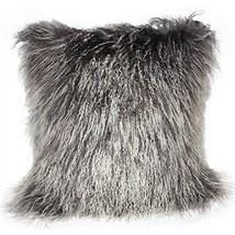 Pillow Decor - 100% Genuine Mongolian (Tibetan) Lambs Wool Sheepskin Fro... - £67.29 GBP