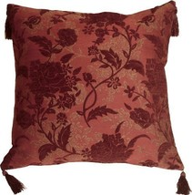 Pillow Decor - Traditional Floral in Wine 24x24 Decorative Pillow - £29.88 GBP