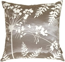 "Pillow Decor - Gray with White Spring Flower and Ferns 16"" x 16"" Decorat... - £20.91 GBP"