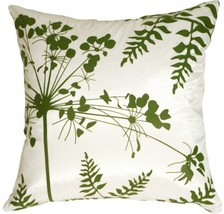 "Pillow Decor - White with Green Spring Flower and Ferns 16"" x 16"" Decora... - $27.95"