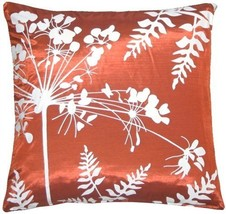 "Pillow Decor - Red with White Spring Flower and Ferns 16"" Pillow - £20.91 GBP"