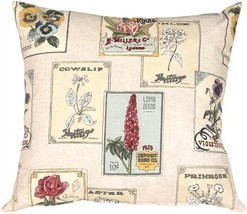 Pillow Decor - Vintage Seed Packet 20x20 Throw Pillow - £29.88 GBP