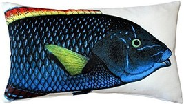 Pillow Decor - Blue Wrasse Fish Pillow 12x20 - £22.40 GBP