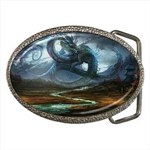 Fantasy Asian Dragon And Monk Chrome Finished Belt Buckle - $9.65
