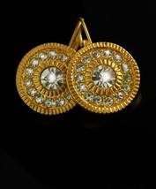 Dazzling earrings Brilliant rhinestones Unsigned pierced Women's ladies gold cos - $30.00