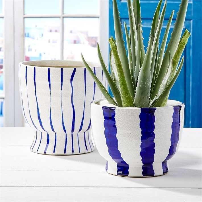 Two's Company Blue and White Striped Planters, Set of 2