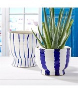 Two's Company Blue and White Striped Planters, Set of 2 - $132.00