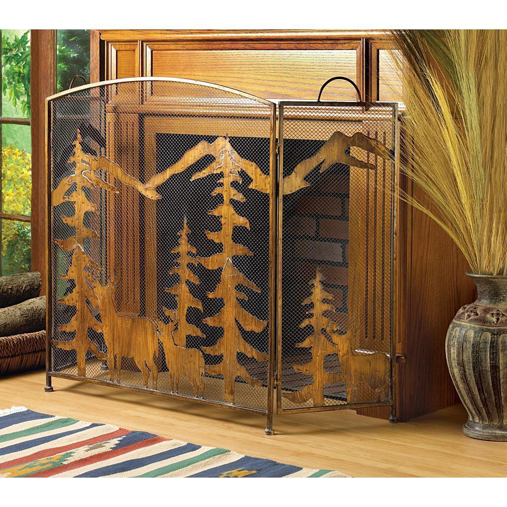 Rustic Forest Iron Fireplace Screen Home Decor Fireplace