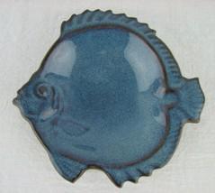 Vintage Japan Art Pottery Fish Dish Blue Ceramic Small Trinket Soap - $24.70