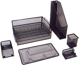 Majestic Goods 7 Piece Black Mesh Desk Set - €24,37 EUR