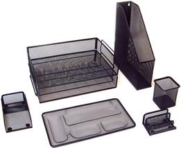 Majestic Goods 7 Piece Black Mesh Desk Set - €25,01 EUR