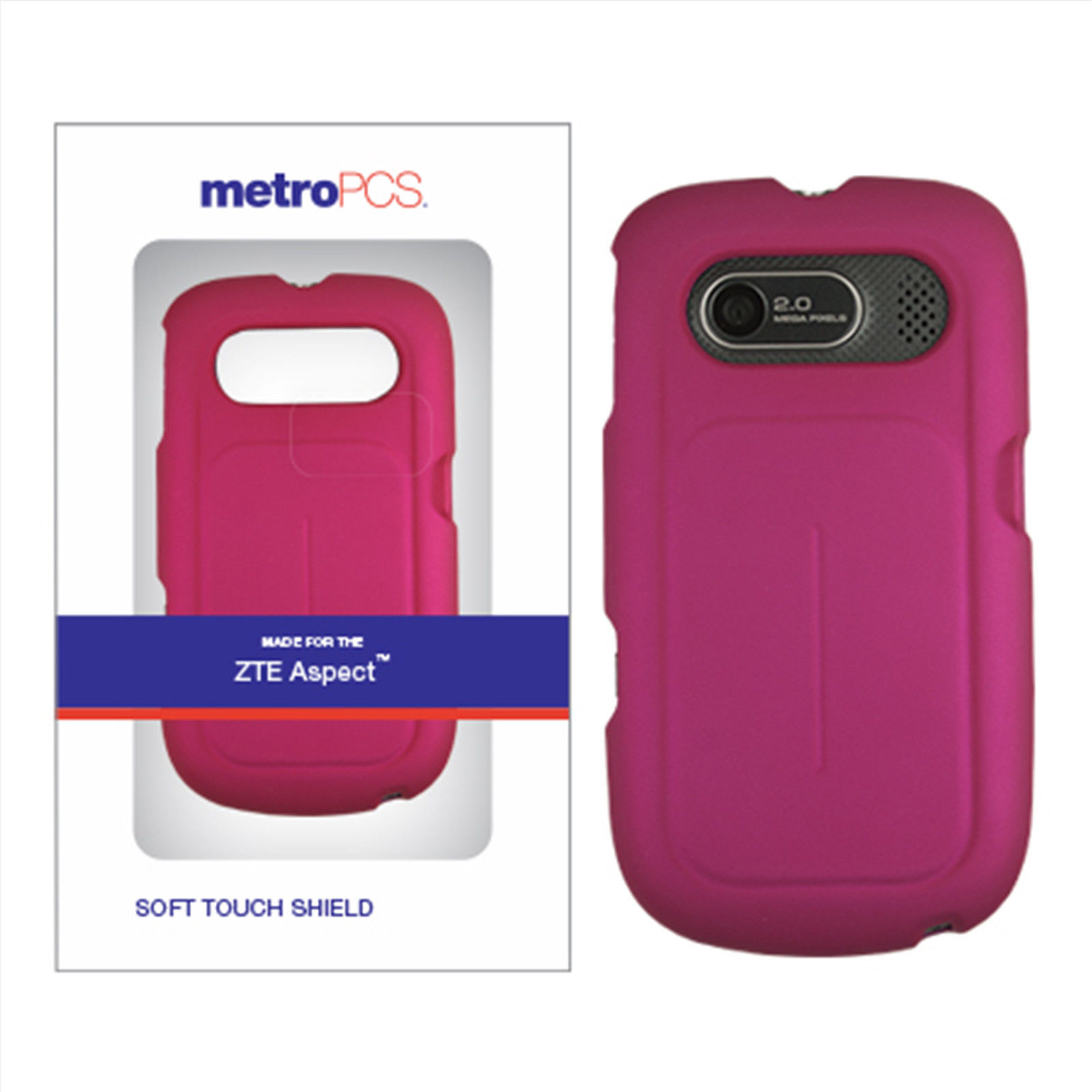 MetroPCS Pink Soft Touch Shield Case for ZTE Aspect Smartphone