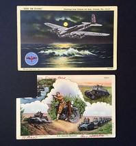 2 Curt Teich WWII Postcards • 1942 Linen • KEEP 'EM FLYING & US Armored Regiment - $9.85