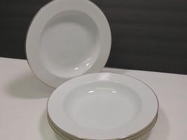 """4 Dansk BROCADE GOLD Rimmed Soup Bowls Jack Lenor Larsen Embossed Curves 9"""" - $39.59"""