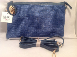Mad About Style Women Blue Weave Crossbody Handbag Purse Clutch Gold Tone Accent