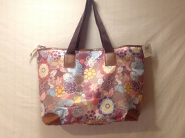 Mad About Style Women Handbag Tote w/ Zipper Multi Color Floral Flower Print