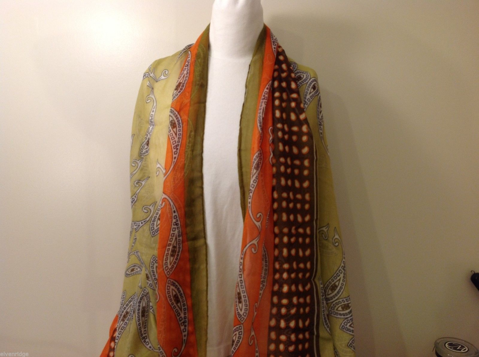 Multi-colored Paisley Patterned Rectangle Scarf, New!