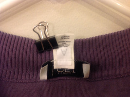 Ann Taylor LOFT Women Size M Sweater Knit Top Purple Short Sleeves Ruched Fitted image 4