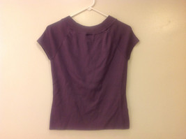 Ann Taylor LOFT Women Size M Sweater Knit Top Purple Short Sleeves Ruched Fitted image 2