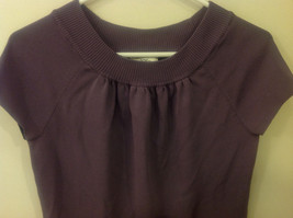 Ann Taylor LOFT Women Size M Sweater Knit Top Purple Short Sleeves Ruched Fitted image 5