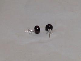 Cocoa Brown Genuine Pearl Stud Earrings Silver Post image 5