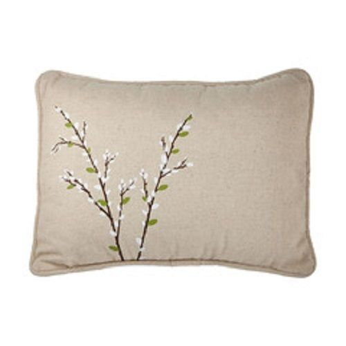 Pussy Willow Tan Beige Canvas Porch Pillow Forest Lane Dept 56