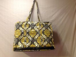 Picnic Plus Moxie Family Tote Carry All Beach Bag Yellow & Gray Baroque Print
